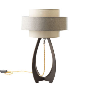 Ampoule brass table lamp in dark brass finish and small round ornate light bulb. Handcrafted in the UK.