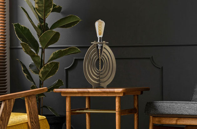 Brass lamp on coffee table